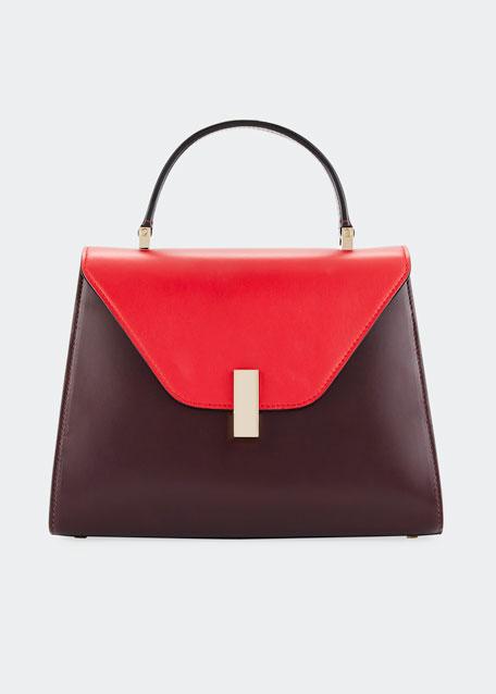 Iside Medium Colorblock Calf Leather Top-Handle Bag