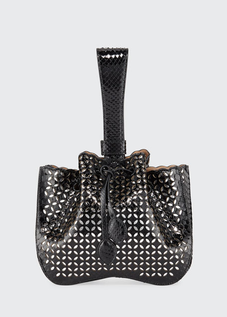 Rose Marie Small Python Wristlet Bucket Bag