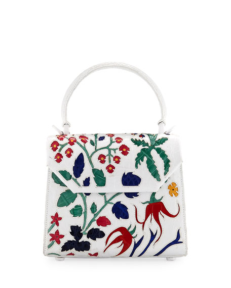 Mini Floral Lily Crocodile Crossbody Bag