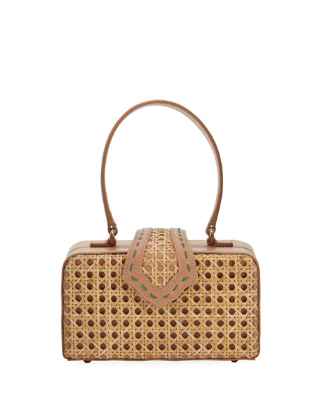 Image 1 of 1: Rattan Fey Top-Handle Box Bag