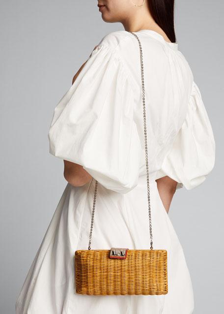 Woven Wicker Clutch Bag