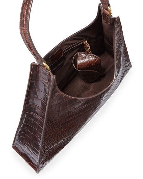 Rey Large Croc-Embossed Hobo Bag