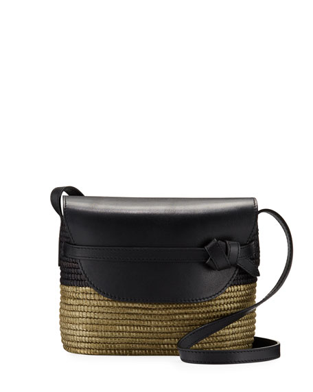 Woven and Leather Crossbody Bag