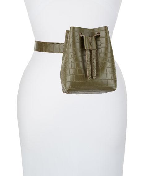 Minee Crocodile-Embossed Belt Bag, Olive