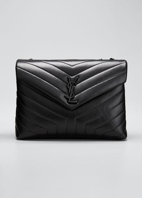 Loulou Medium YSL Matelasse Calfskin Flap-Top Shoulder Bag, Matte Black Hardware