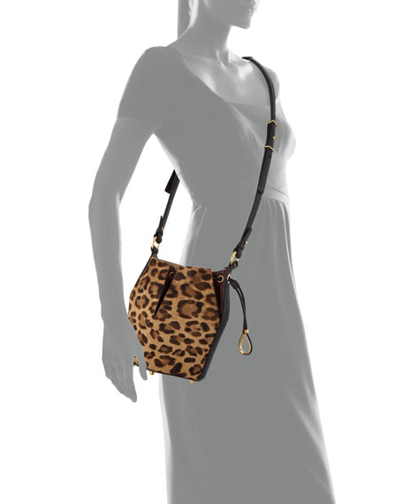 Small Leopard Hair Bucket Bag