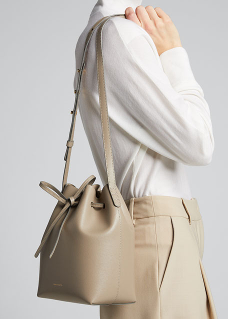 Mini Saffiano Leather Bucket Bag
