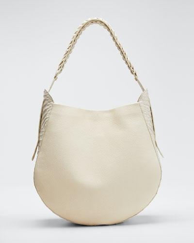 Leather and Croco Hobo Bag