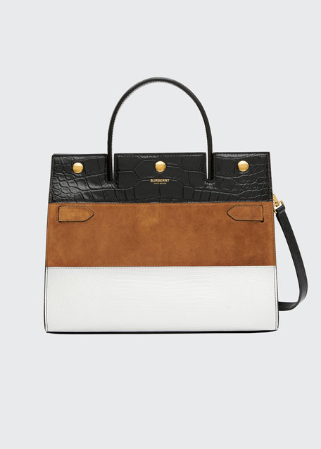 Image 1 of 1: Medium Title Mixed Leather Top Handle Bag