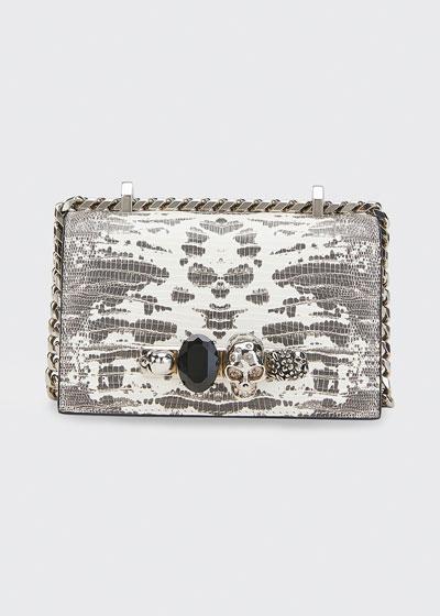 Skull Jeweled Snake-Print Satchel Bag