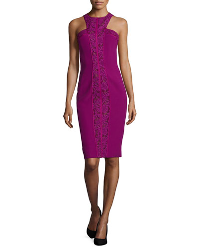 Lace-Paneled Halter Sheath Dress