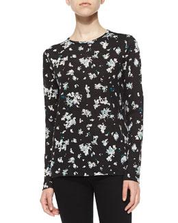 Floral-Print Slub-Knit Tee, Black/White