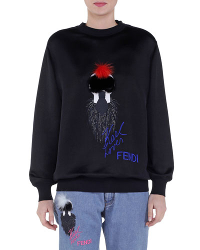 Karlito Fur Applique Jersey Sweatshirt, Black