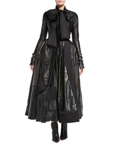 Patchwork Leather Tie-Neck Ball Gown, Black