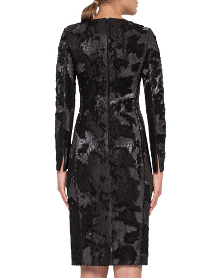 Sequined Long-Sleeve Cocktail Dress, Black