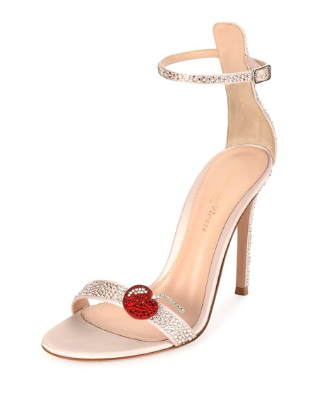 Strass Cherry Ankle-Wrap 105mm Sandal, Pink