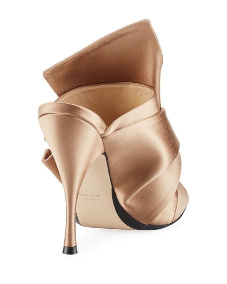 Pleated Satin 100mm Mule Sandal