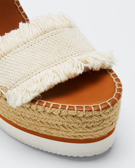 Glyn Canvas & Leather Espadrille Sandal, Cream/Tan