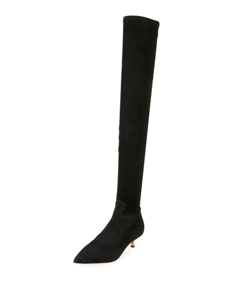 1545859f7a5 Valentino Garavani Over-the-Knee Stretch-Suede Boot