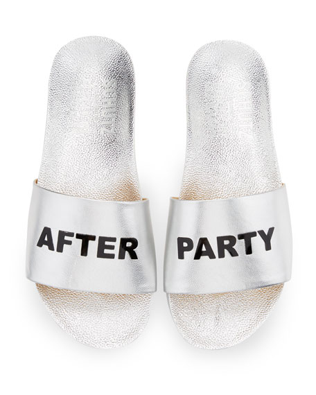 After Party Leather Slide Sandal, Silver