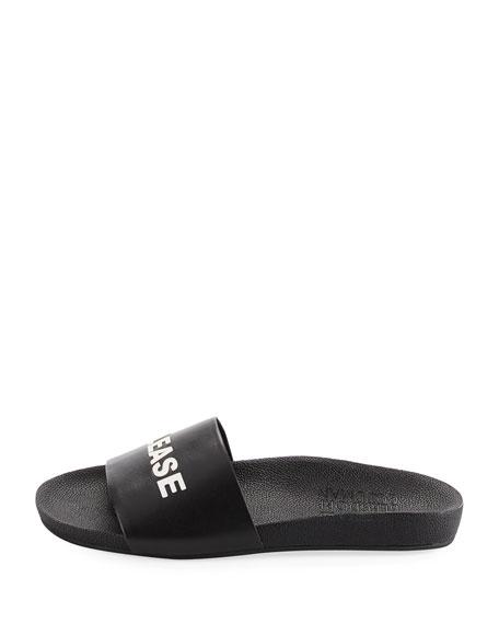 Beach Please Leather Slide Sandal, Black/White
