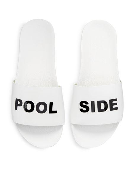 Pool Side Leather Slide Sandal, White/Black