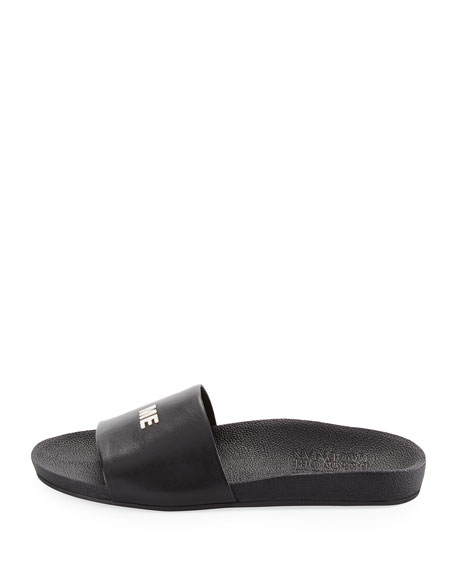 Follow Me Leather Slide Sandal, Black/Silver