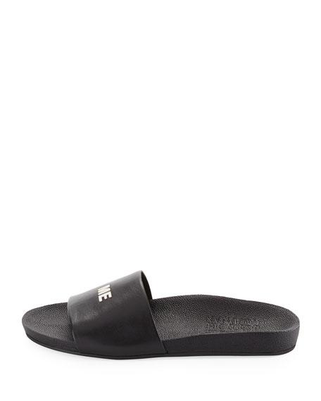 Follow Me Leather Slide Sandal, Black/Silver