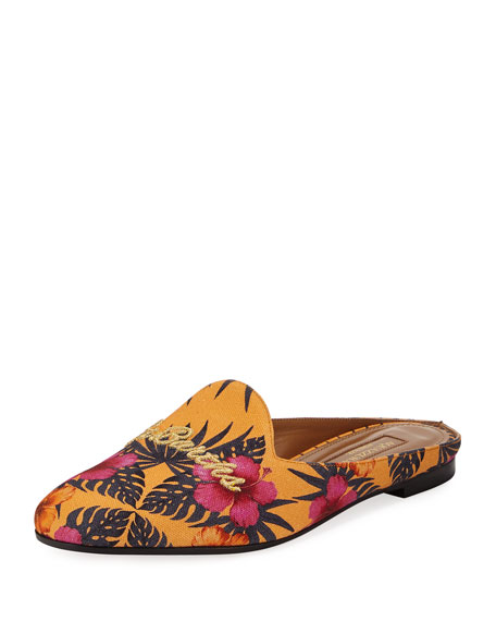 Aquazzura St. Barth's Canvas Loafer Mule, Yellow Pattern