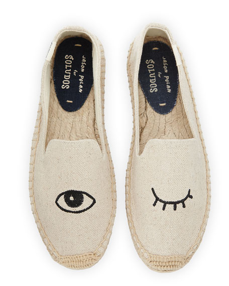 Image 1 of 1: Wink-Embroidered Canvas Espadrille