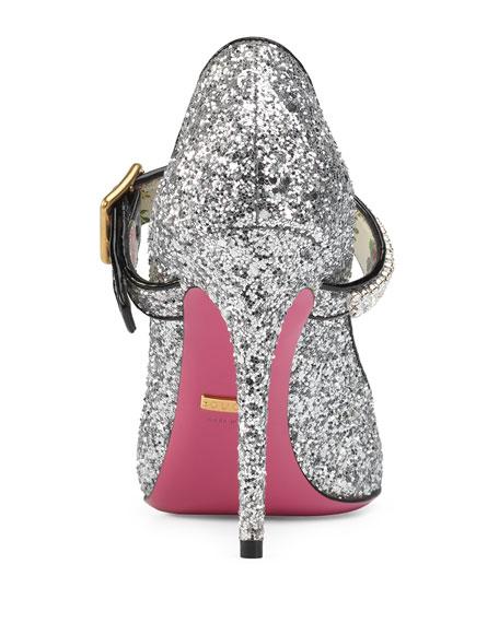 58e502e9607 Gucci 105mm Sylvie Glitter Mary Jane Pump
