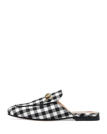 6182a3148 Gucci Flat Princetown Gingham Mule