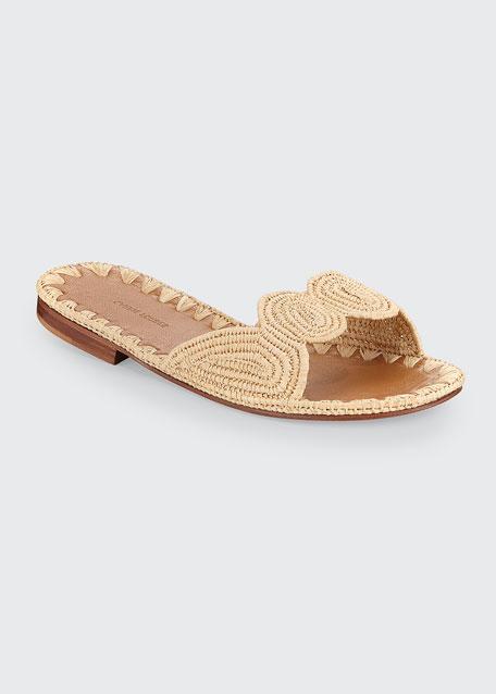 Naima Woven Raffia Slide Sandals