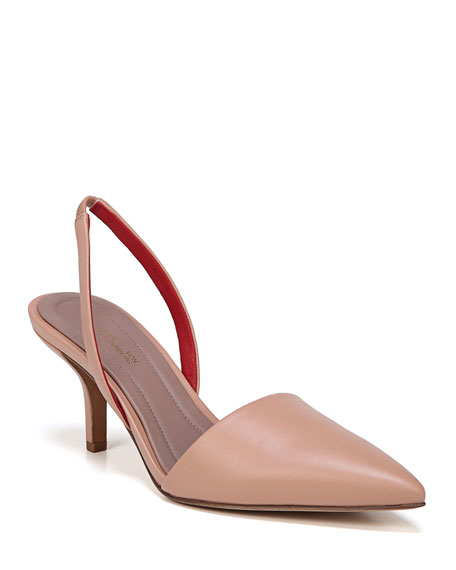 Mortelle Slingback Leather Pumps, Beige