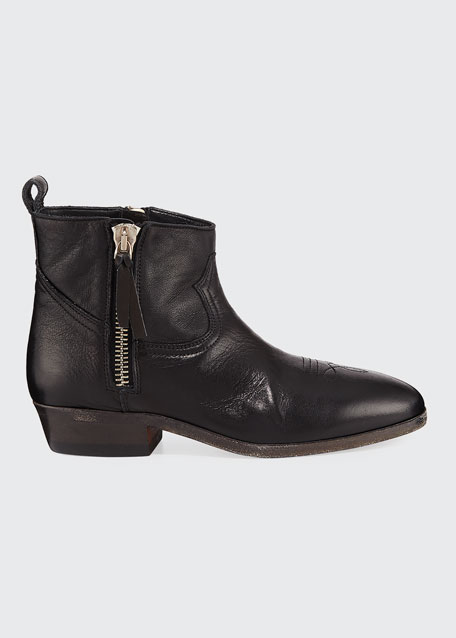 Viand Flat Leather Ankle Boots