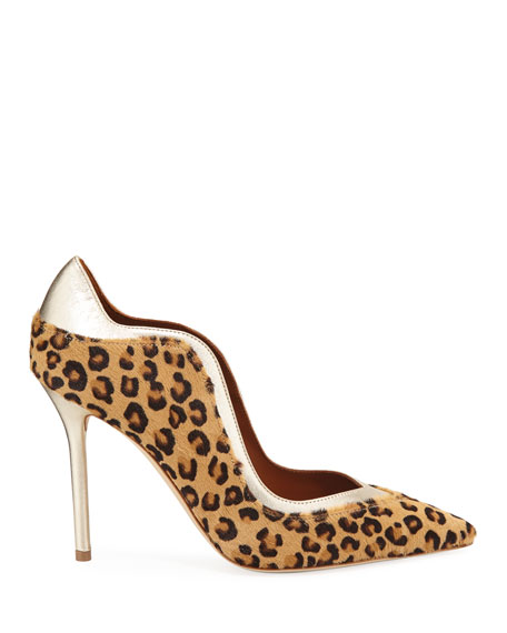 Penelope Leopard-Print Calf Hair Scalloped Pumps