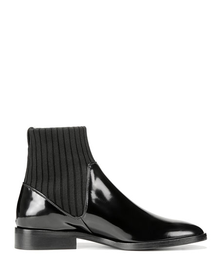 Perlow Leather Sock-Collar Boots