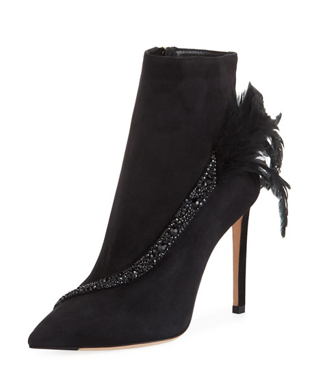 Kassidy Suede Booties with Crystals & Feathers
