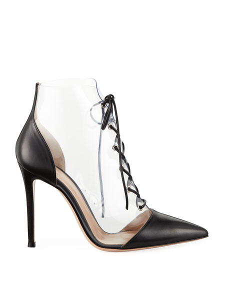 Leather and Clear PVC Lace-Up Booties