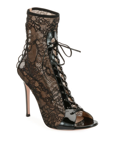 7afadedc85f Gianvito Rossi Floral-Lace Peep-Toe Booties from Bergdorf Goodman ...