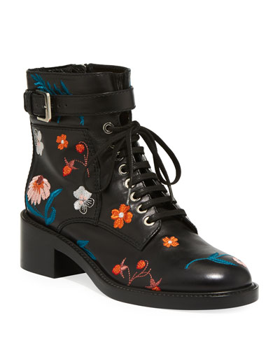Solene 40mm Embroidered Combat Boots