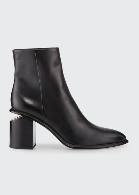 Anna Block-Heel Leather Booties - Rose-Tone Hardware