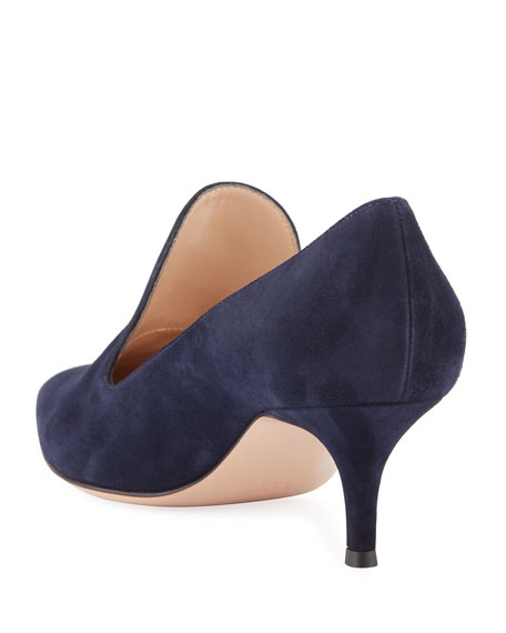 Suede Pointed Heeled Loafers