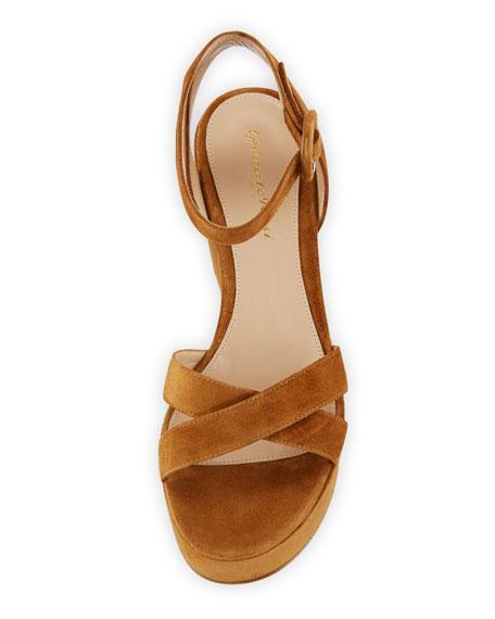 Suede and Leopard-Print Platform Sandals