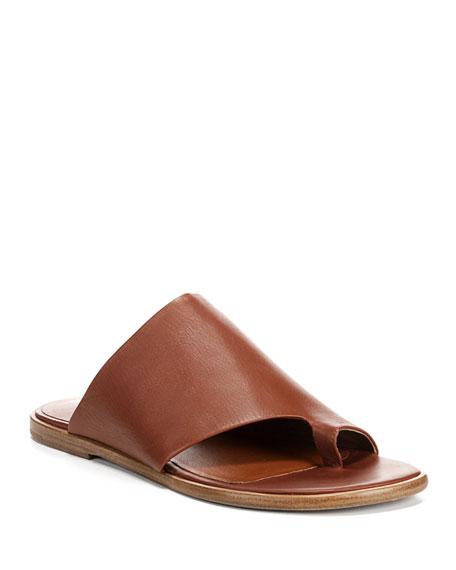 Edris Flat Siviglia Leather Slide Sandals
