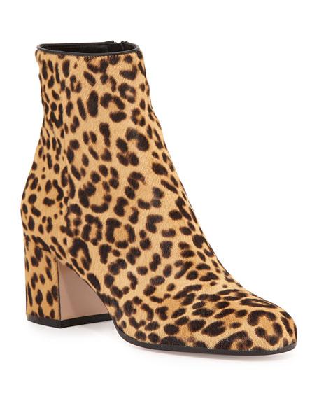 Leopard-Print Calf Hair Block-Heel Ankle Boots