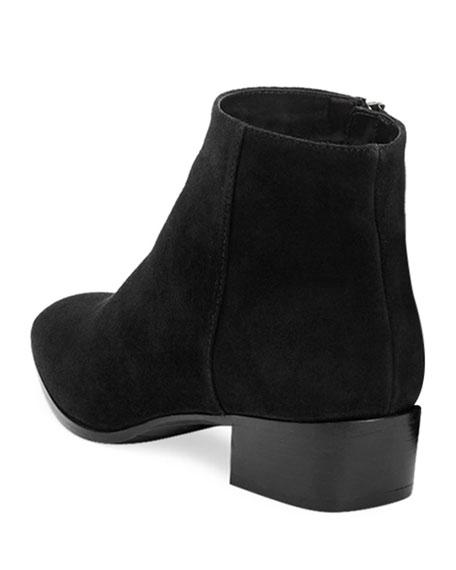 Fuoco Low-Heel Suede Zip Booties