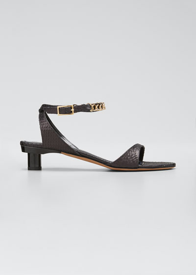 Nathan Snake-Embossed Chain Sandals
