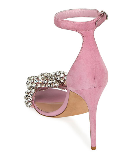 Crystal and Suede Sandals
