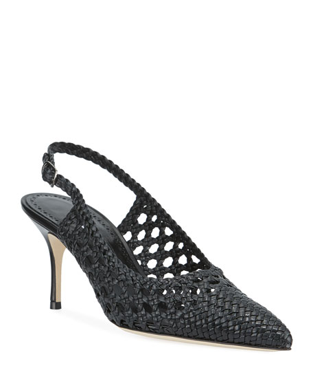 Image 1 of 1: Basewusli Woven Leather Slingback Pumps